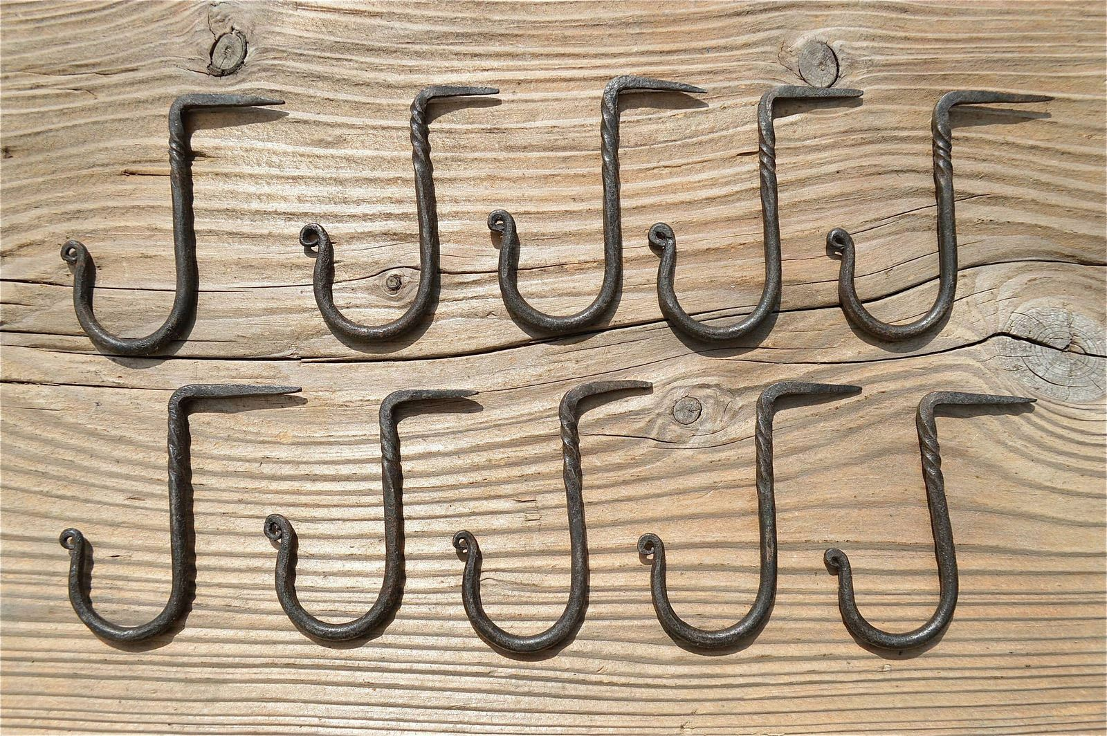 Set Of 10 Small Twisted Wrought Iron Medievil Hanging Hooks Dresser Hook Mm1