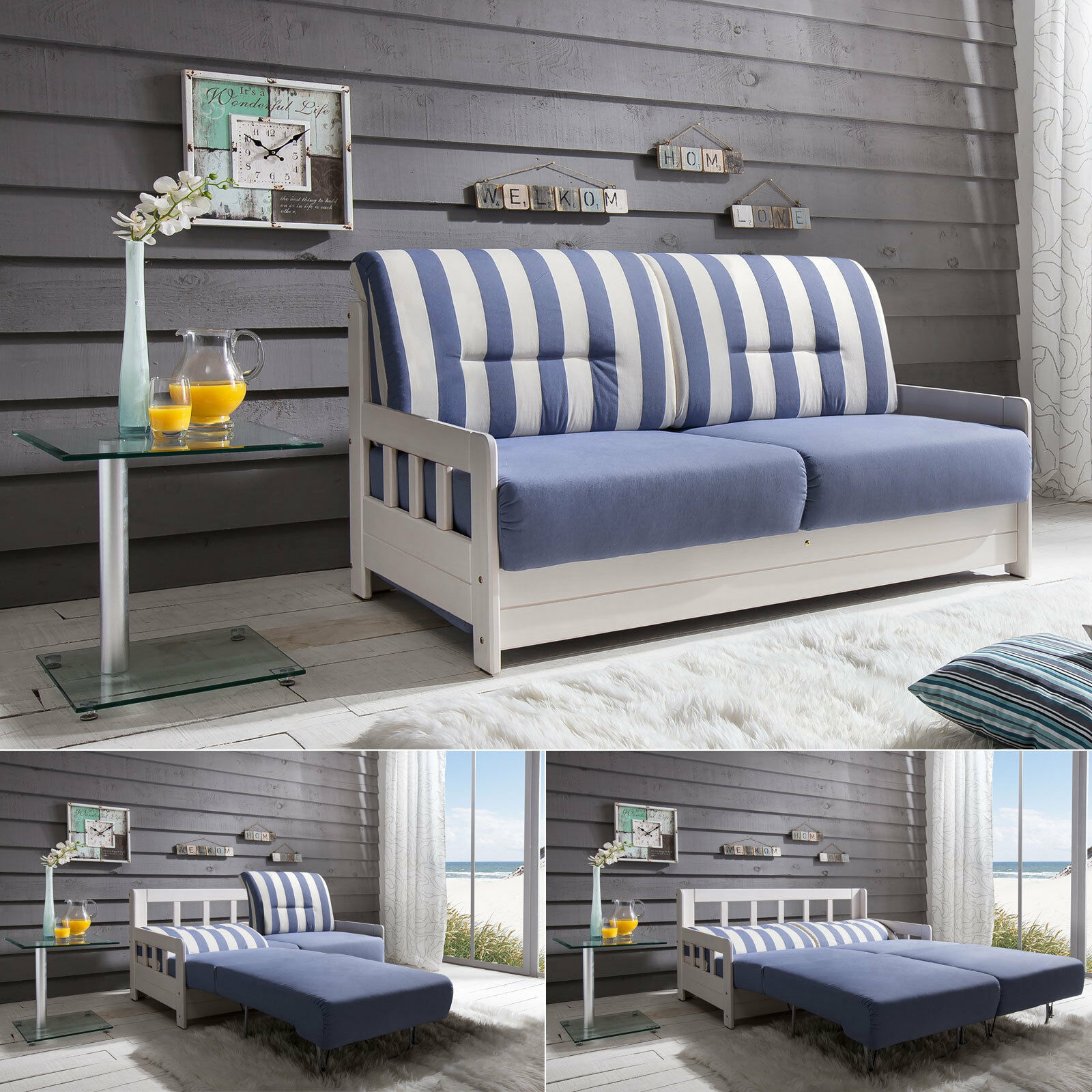schlafsofa campus sofa funktionssofa stoff blau wei inkl liegefunktion 154 cm eur 499 95. Black Bedroom Furniture Sets. Home Design Ideas