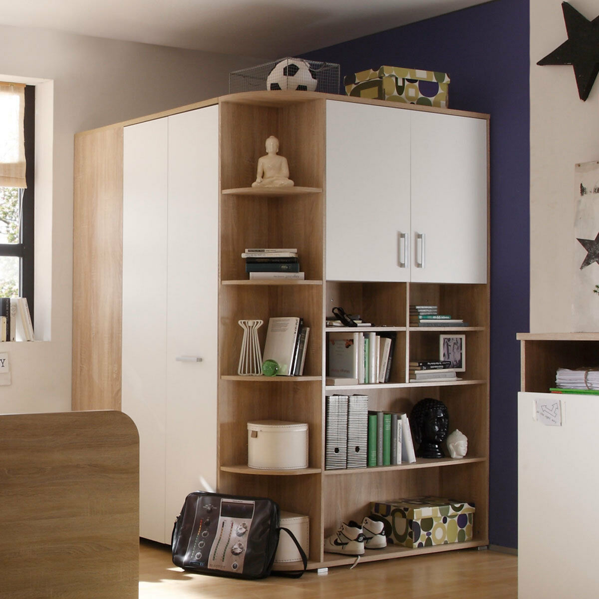 begehbarer kleiderschrank corner eckschrank jugendzimmer eiche sonoma eur 389 95 picclick de. Black Bedroom Furniture Sets. Home Design Ideas