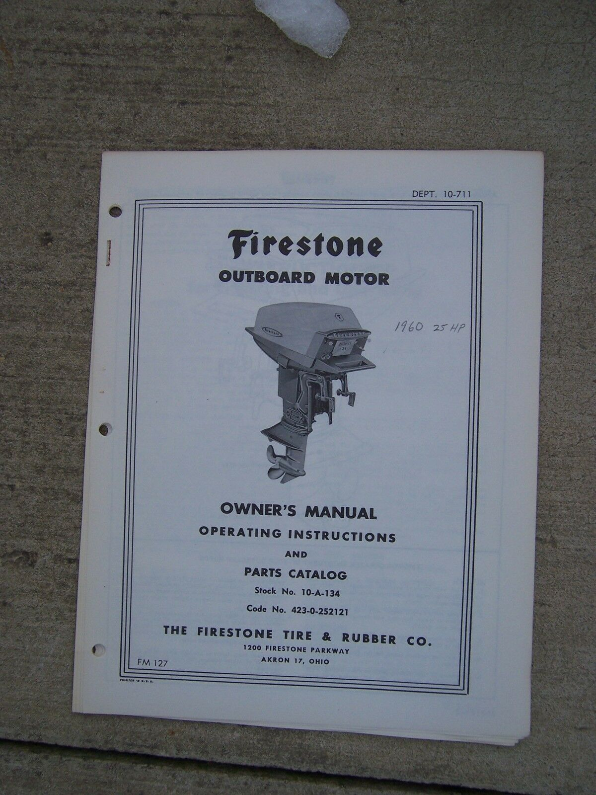 1960 Firestone Outboard Motor 25 HP Owner Manual Parts Catalog Operating  Boat U 1 of 1Only 1 available ...