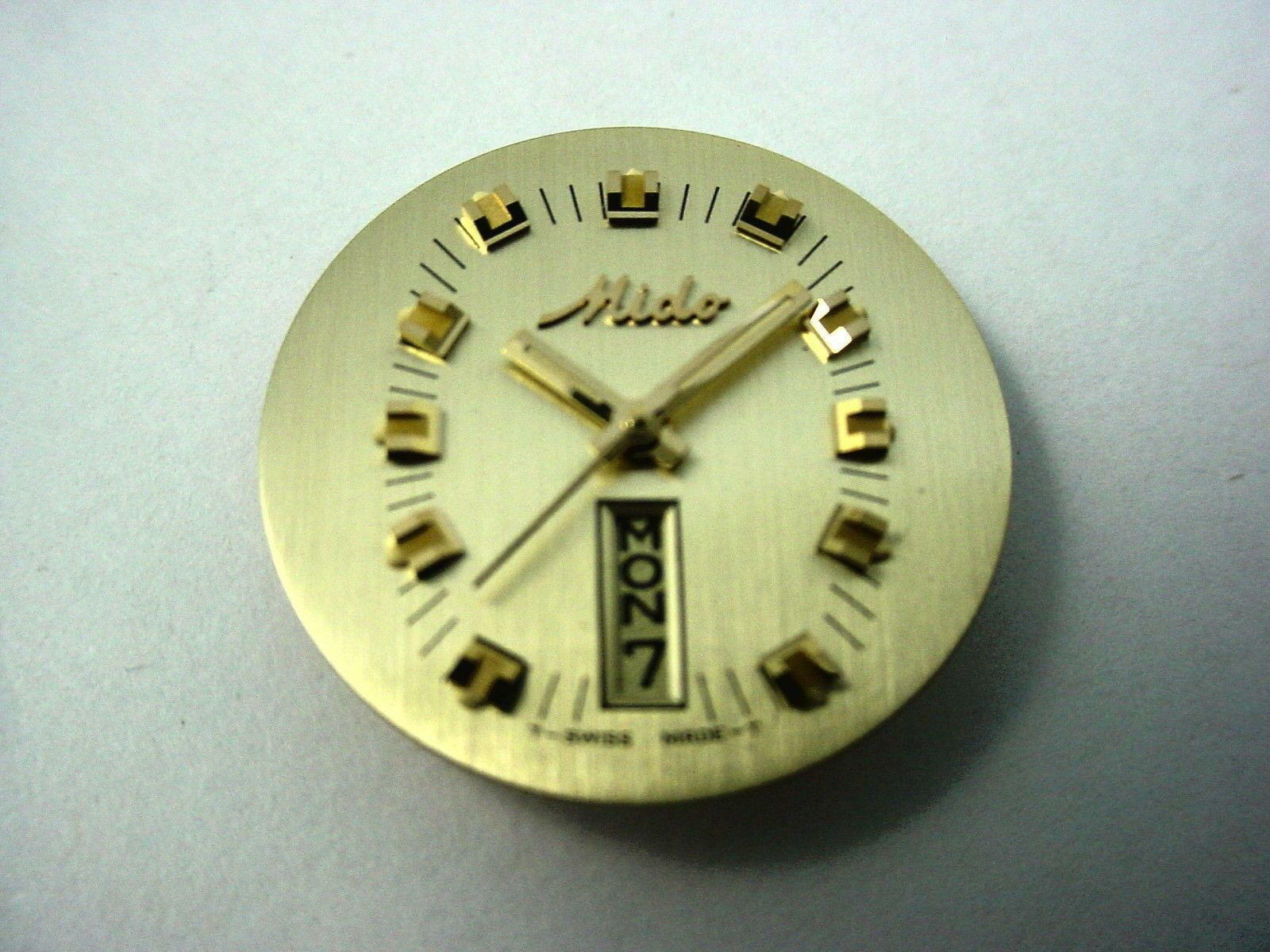 Gold Mido Vintage Watch Dial 21.3mm Day Date Window Hands Gold Square Markers