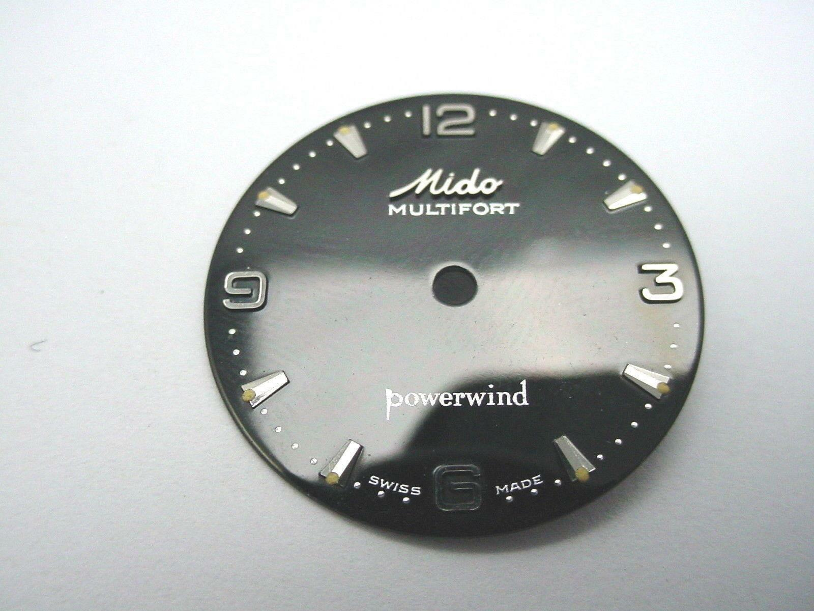 23.76mm Black Mido Powerwind Multifort Vintage Watch Dial Silve Arrow Markers