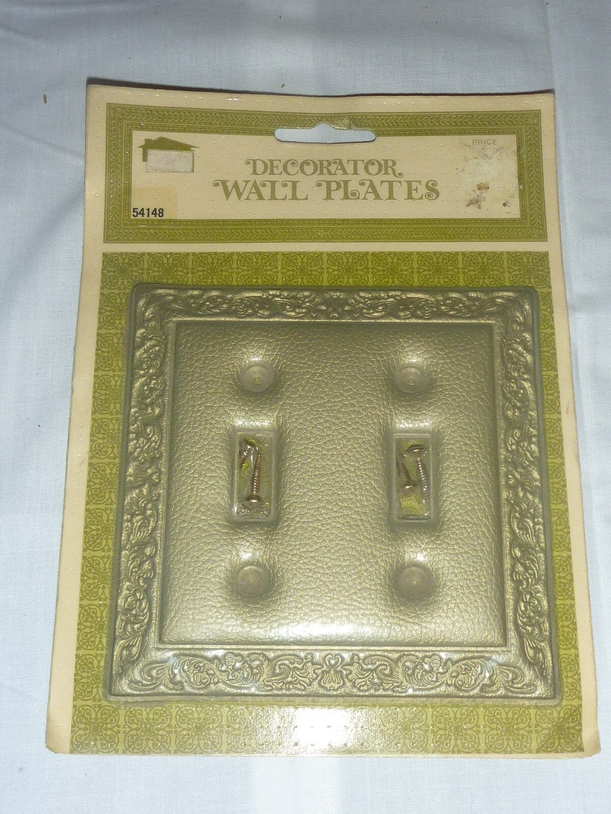 NOS Vintage Mid Century Double Switch Plate-Padded Leatherlike Gold #54148