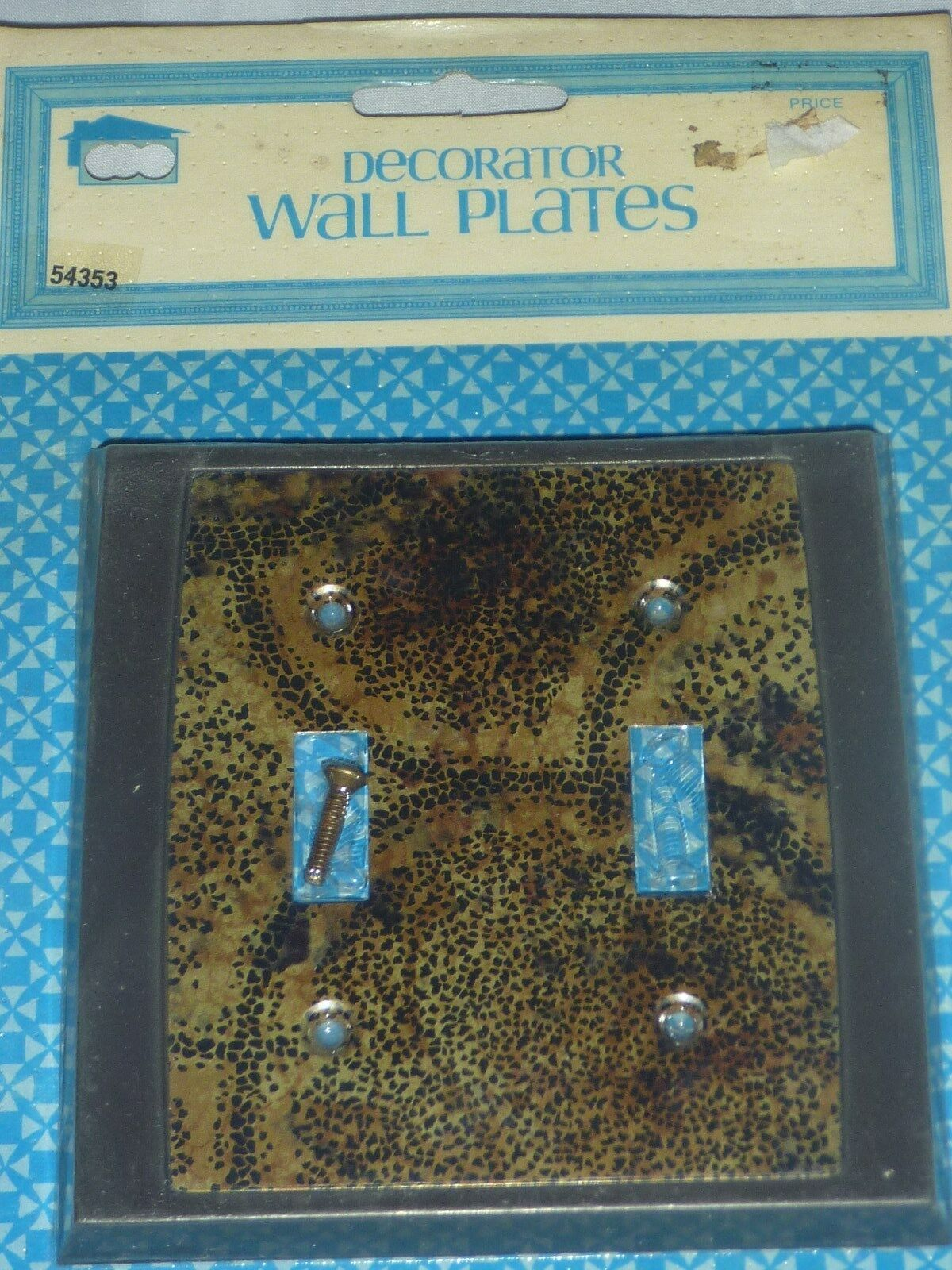 NOS Vintage Mid Century Double Switch Plate-Mod Brown/Gold Retro #54353