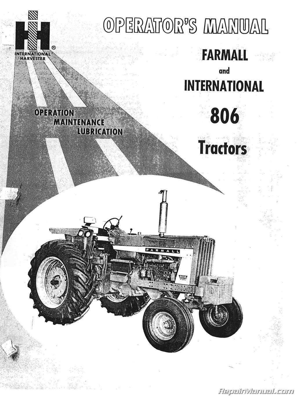 International Harvester Farmall 806 Tractor Operators Manual 1 of 1Only 4  available ...