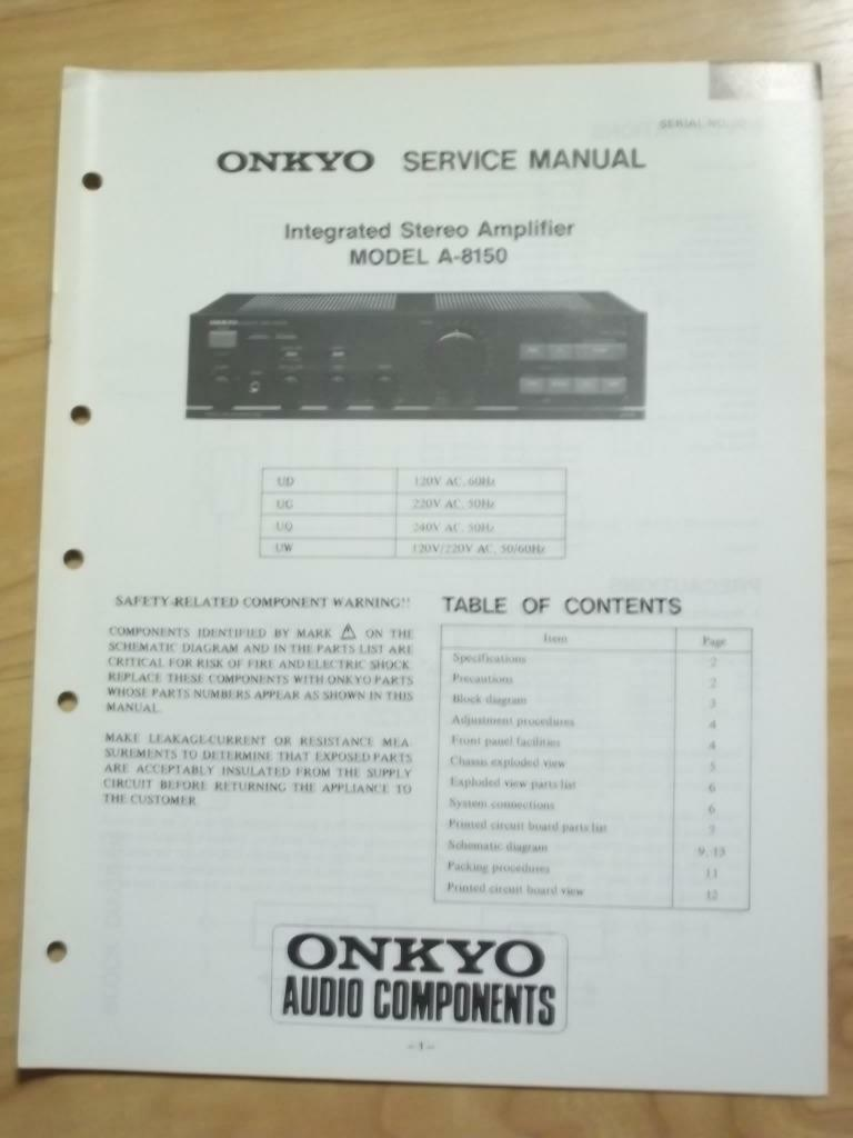 original onkyo service manual for the a 8150 amp amplifier repair rh picclick com Toshiba Laptop Repair Manual Toshiba Satellite Parts Manual
