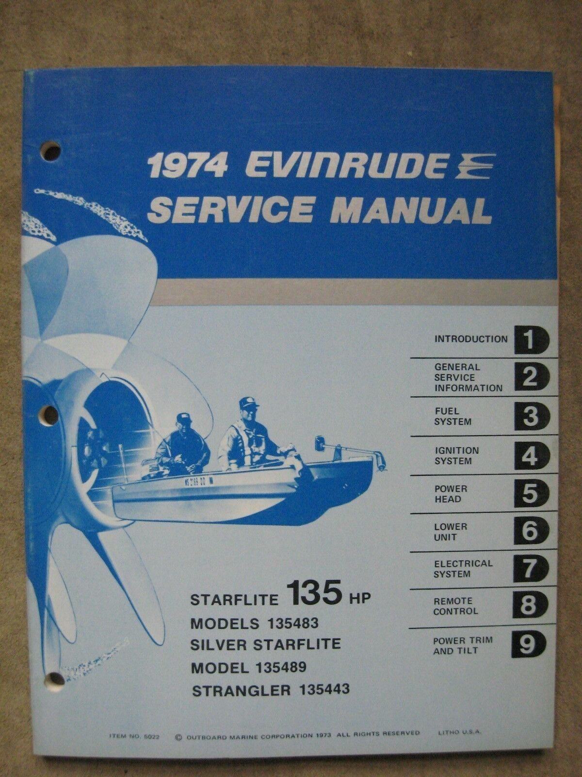 1974 Evinrude 135 HP Outboard Motor Service Repair Manual 135483 135443  135489 1 of 1Only 1 available ...