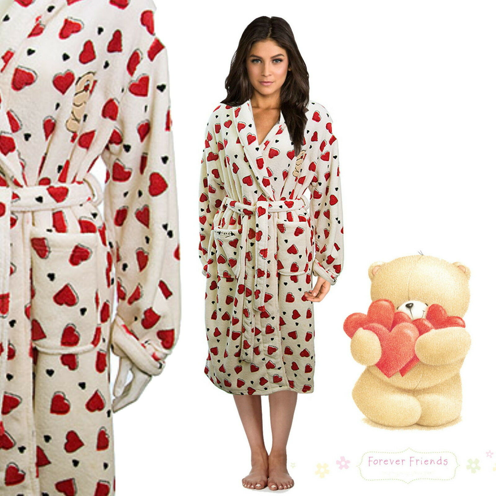 LADIES FOREVER FRIENDS Super Soft Heart Design White Dressing Gown ...
