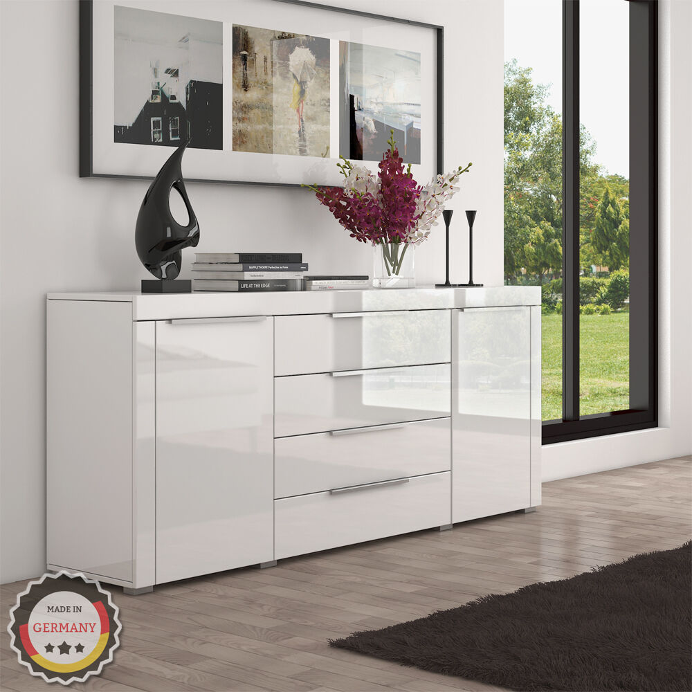 luxus highboard in wei hochglanz sideboard kommode mdf wohnzimmer eur 269 90 picclick de. Black Bedroom Furniture Sets. Home Design Ideas