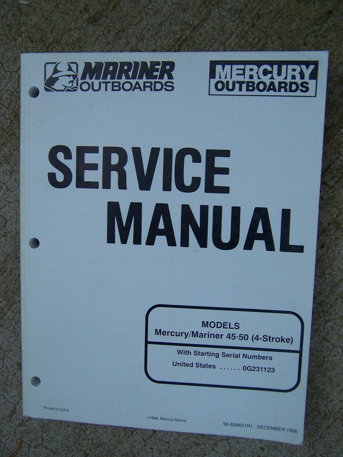 1997 Mariner Mercury Outboard Motor Service Manual 45 50 4 Stroke Models  Boat G 1 of 1Only 1 available ...