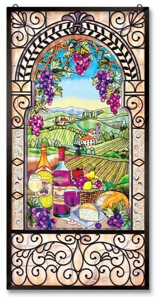 Amia stained glass window panel 20 x 40 wine and cheese for 20 40 window