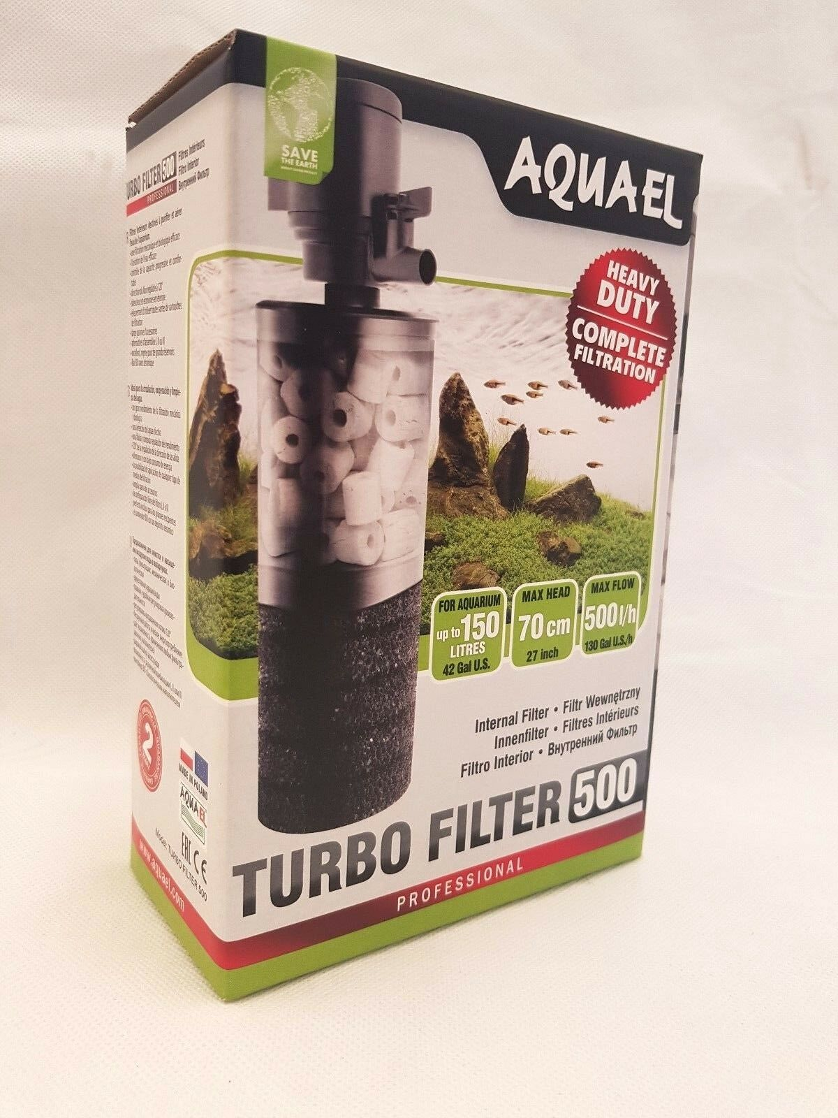 Aquael Turbo Filter 500 Aquarium -150l Innenfilter BIO Tauchfilter Filter Pumpe