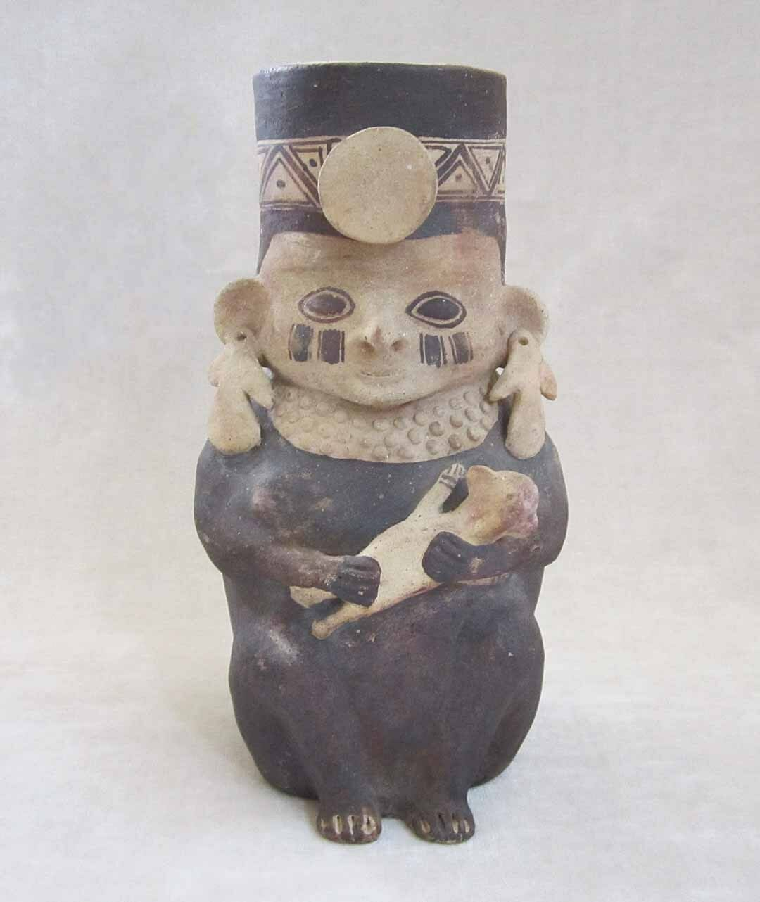 Pre-Columbian CHANCAY Pottery Vessel of a Priestess Holding an Infant - 1000 AD