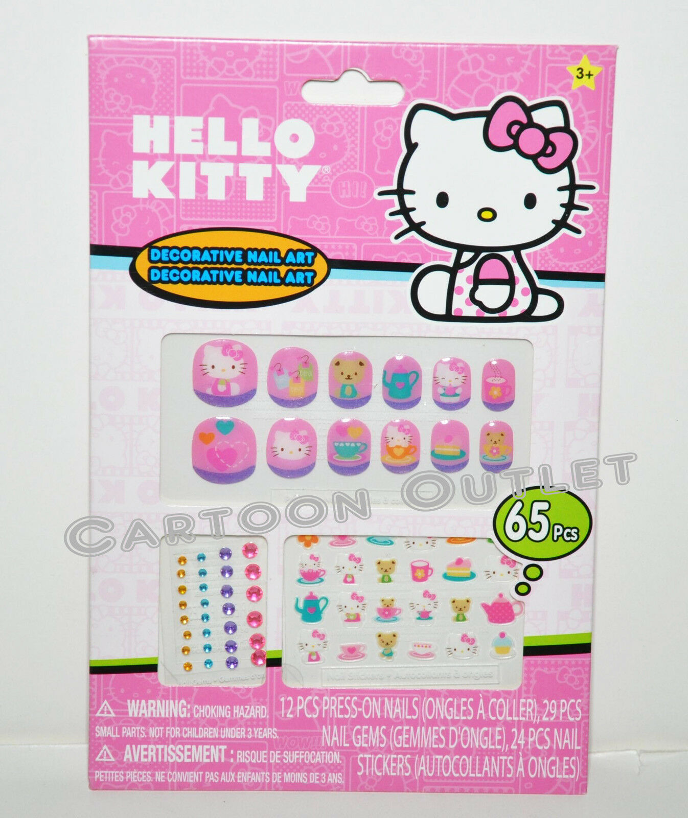 Sanrio Hello Kitty Nail Art 65 Pcs Press On Nails Nail Gems Nail