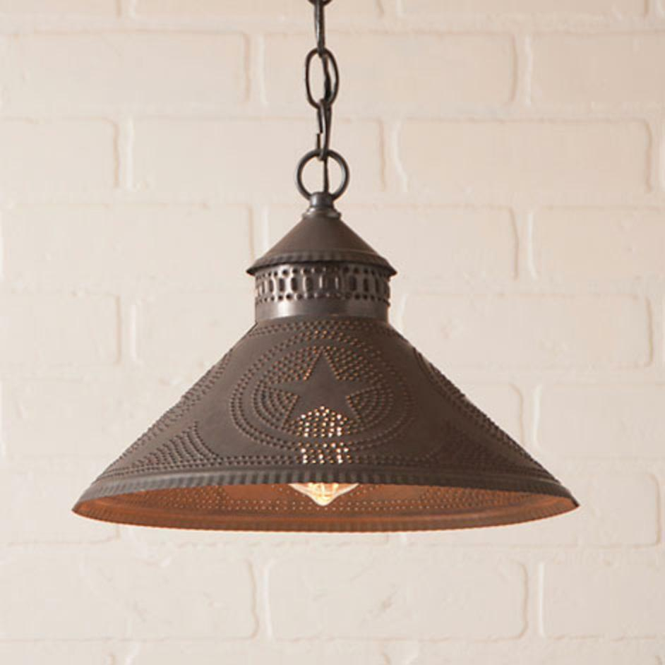 Country new STOCKBRIDGE blacken tin punched STAR hang ceiling light / nice