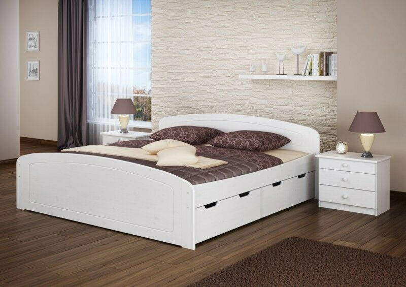 w bett doppelbett weiss 200x200 kiefer massiv ehebett mit rollroste eur 479 95. Black Bedroom Furniture Sets. Home Design Ideas