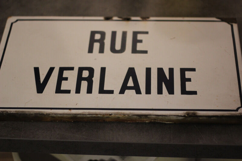 "French Real Enamel Street Sign, Plaque ""rue Verlaine """