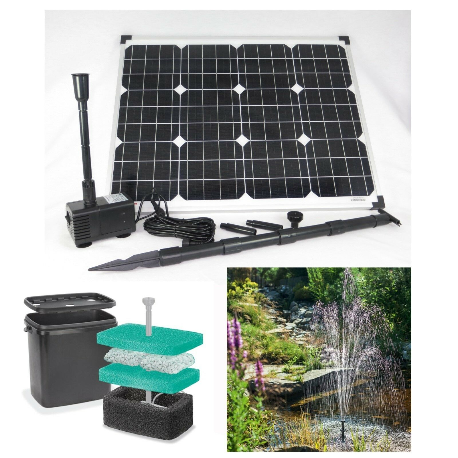 50 w solar teichpumpe filter tauchpumpe garten bachlauf pumpe solarpumpe teich eur 165 00. Black Bedroom Furniture Sets. Home Design Ideas