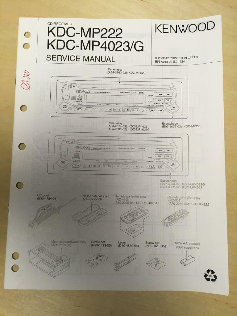 Kenwood Service Manual For The Kdc Mp222 Mp4023 G Cd Car Radio Mp Mp522 Wiring Diagram 1 Of 1only Available