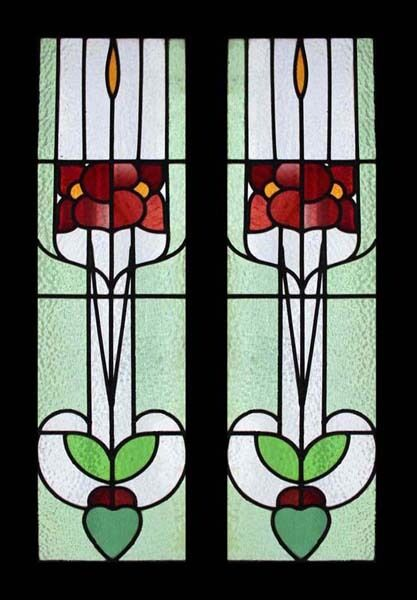 Rare Antique English Arts & Crafts Iris Pair Stained Glass Sidelights Windows