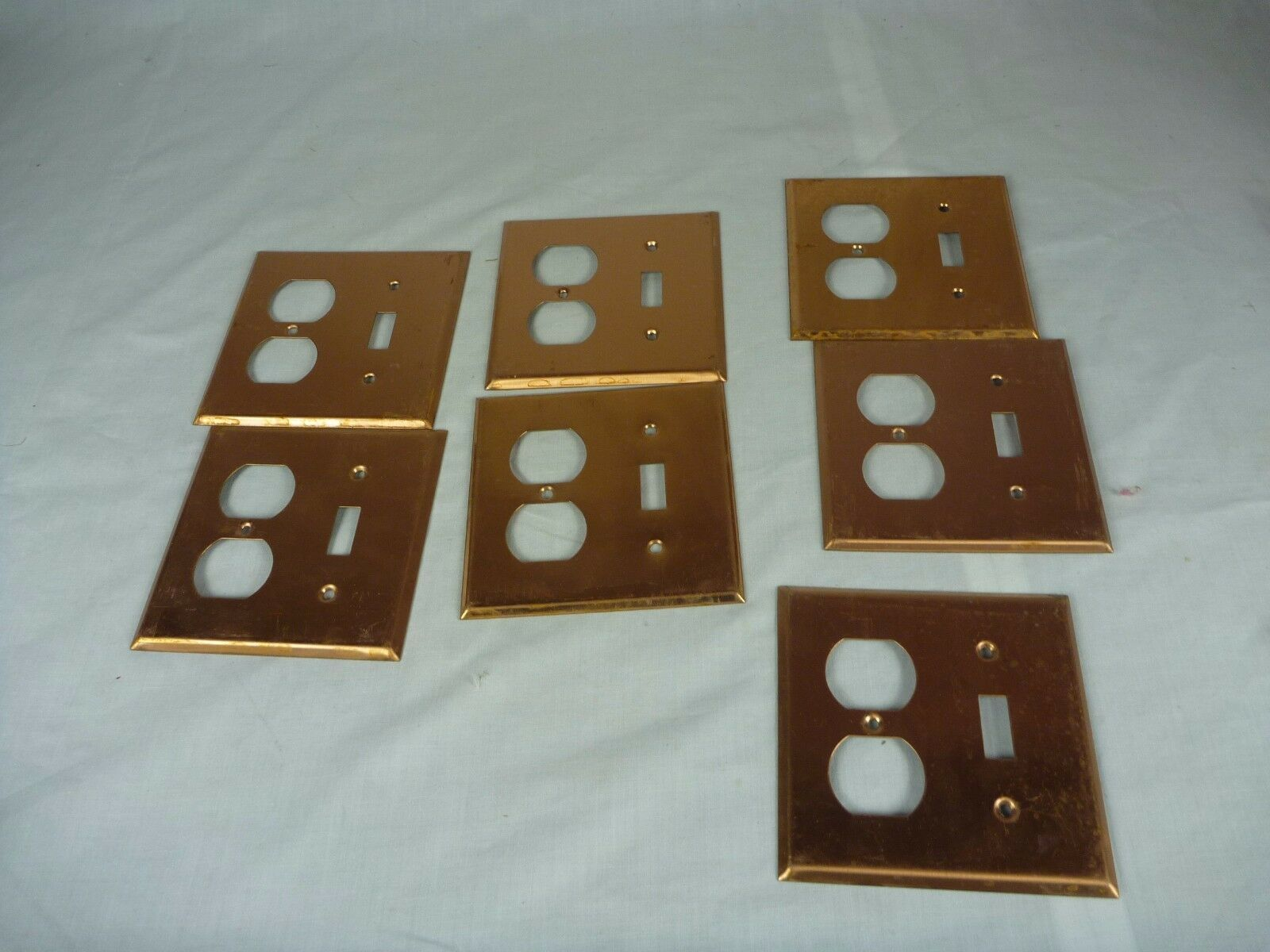 Lot of 7 NOS Vintage Smooth Copper Duplex Switch Combo Electrical Plate