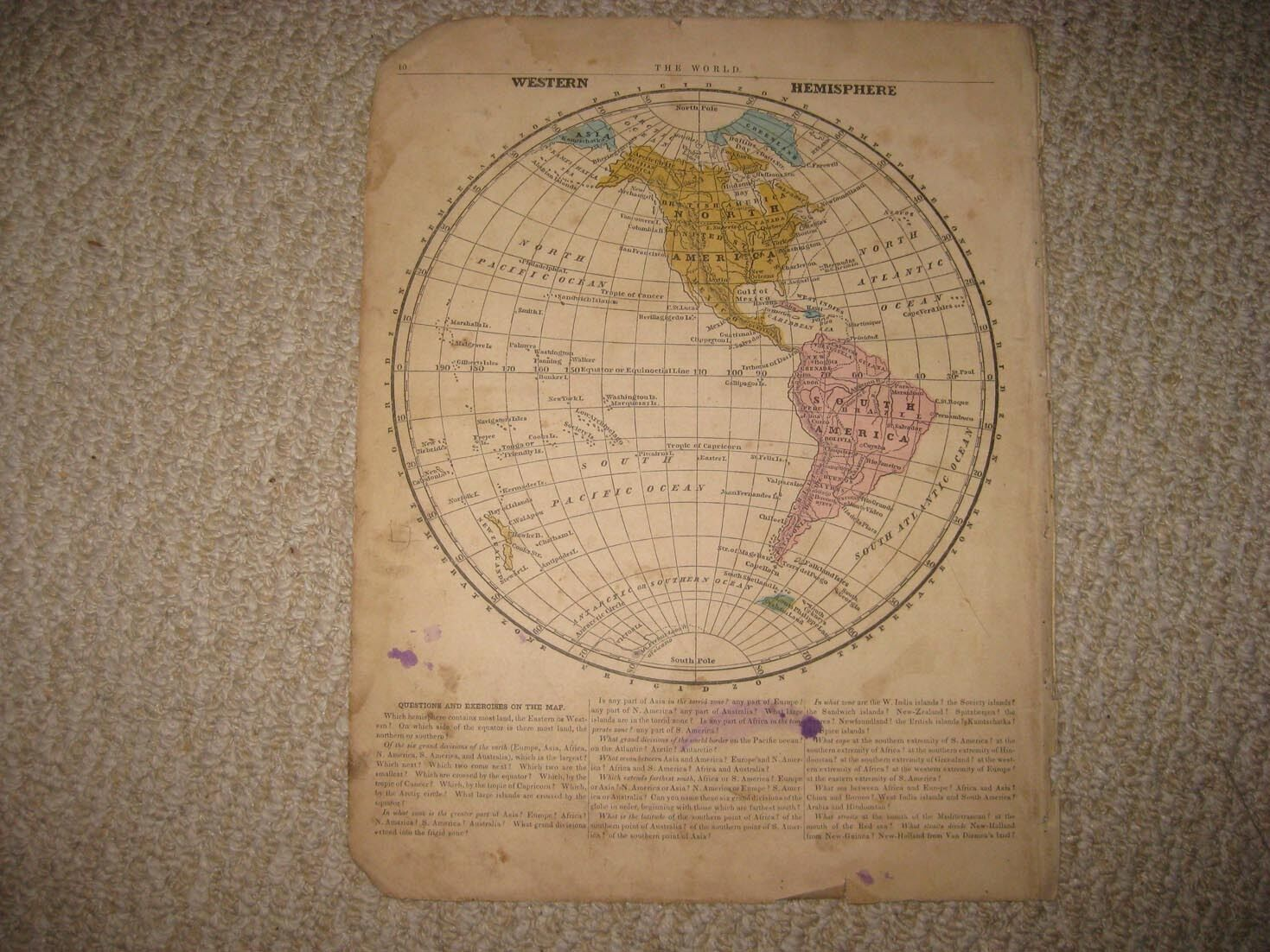 Antique 1854 western hemisphere world map united states british antique 1854 western hemisphere world map united states british canada hawaii nr 1 of 1only 1 available see more gumiabroncs Gallery