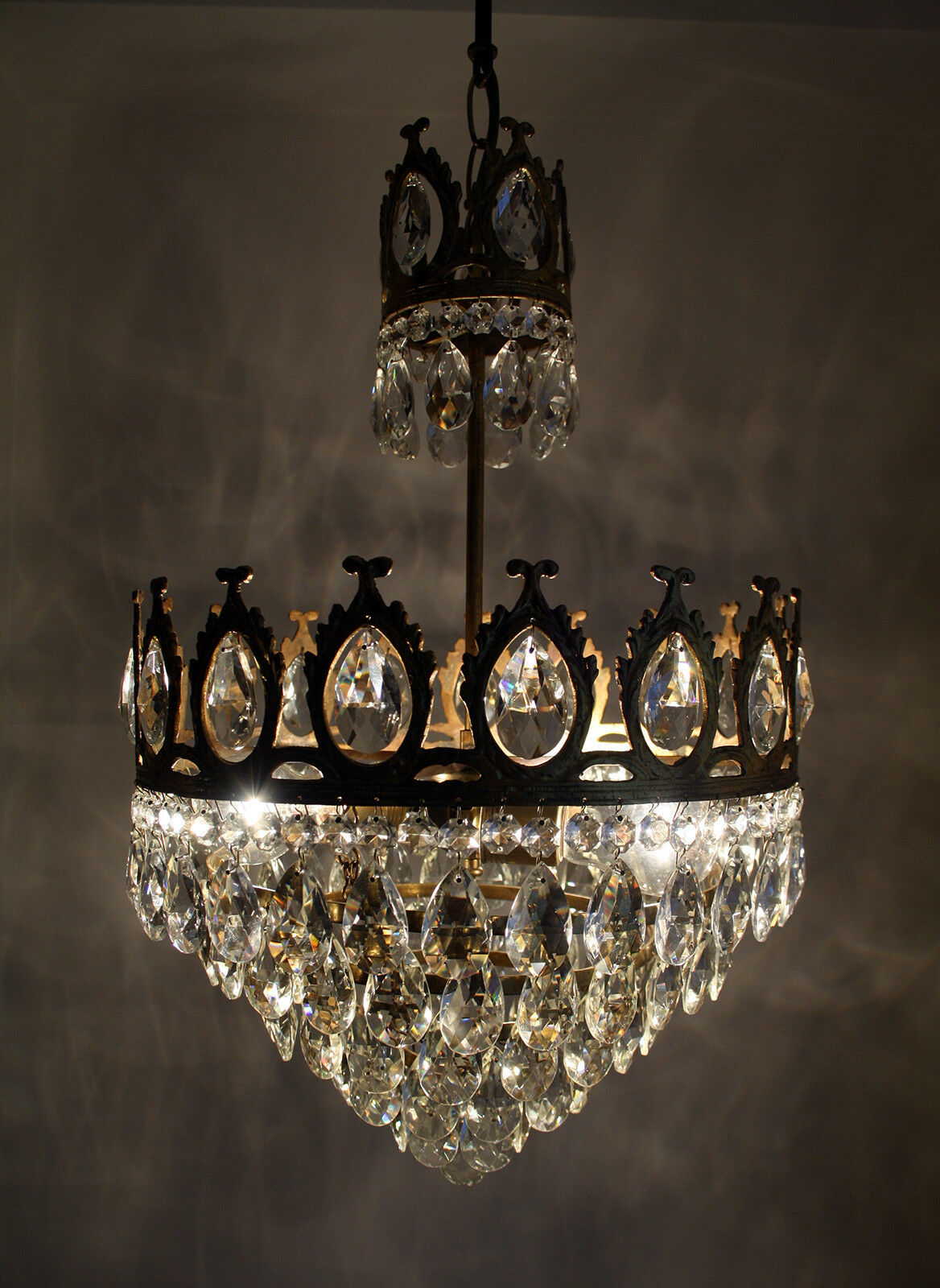 Antique French Basket Style Cast Brass & Crystals Chandelier from 1950's