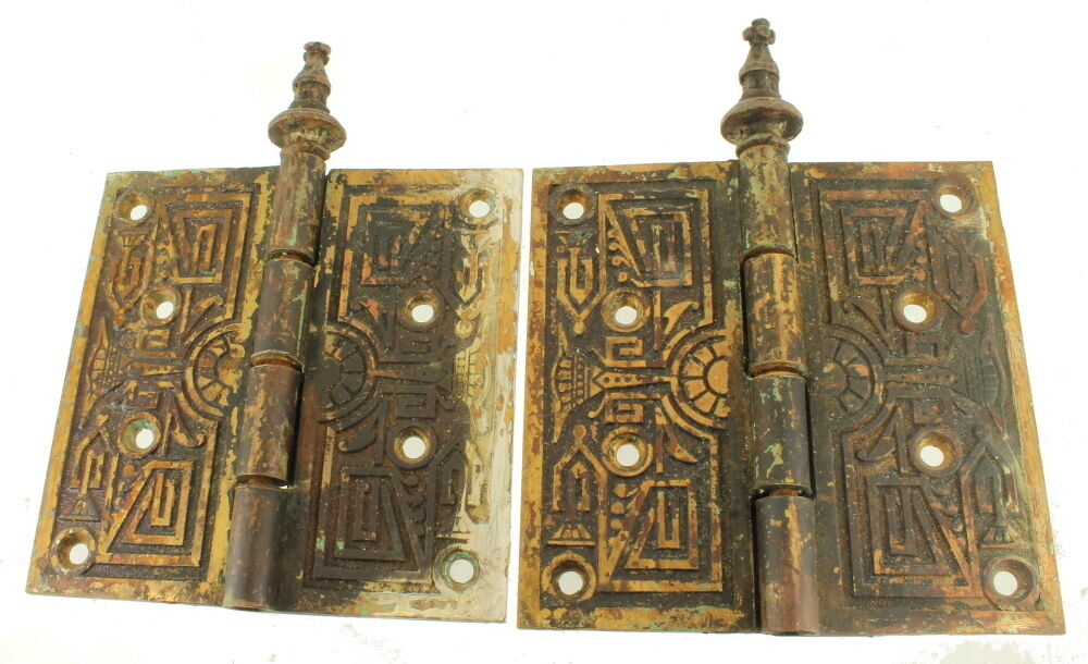 Antique 19th Century Eastlake Ornamental Cast Brass Steeple Tipped Door Hinges