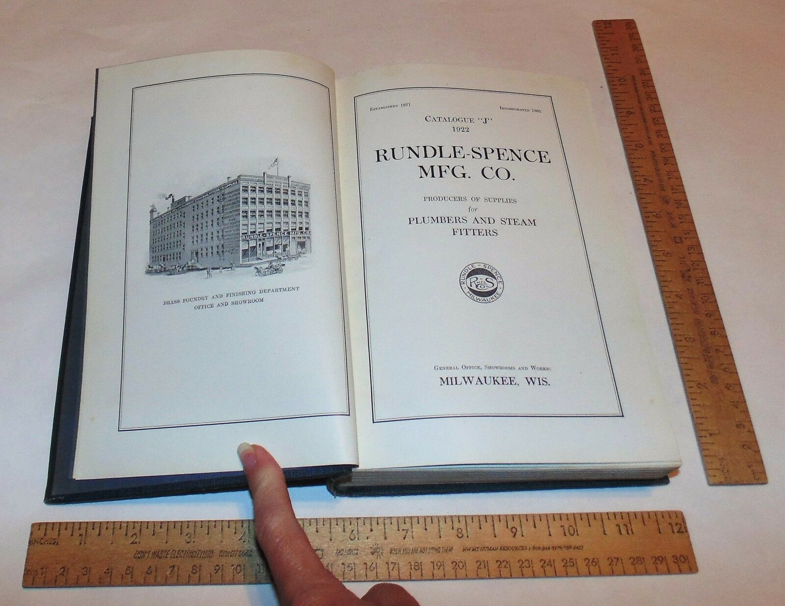 "1922 CATALOGUE ""J"" - RUNDLE-SPENCE MFG CO - Plumbing - illustrated hb BOOK"