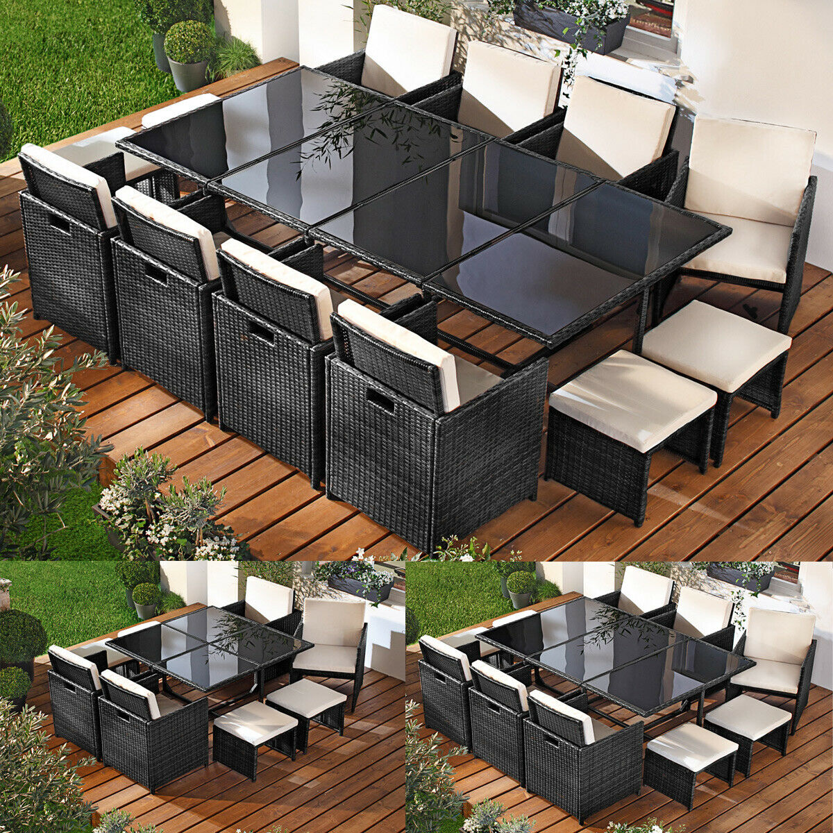 poly rattan sitzgarnitur gartenm bel gartengarnitur. Black Bedroom Furniture Sets. Home Design Ideas