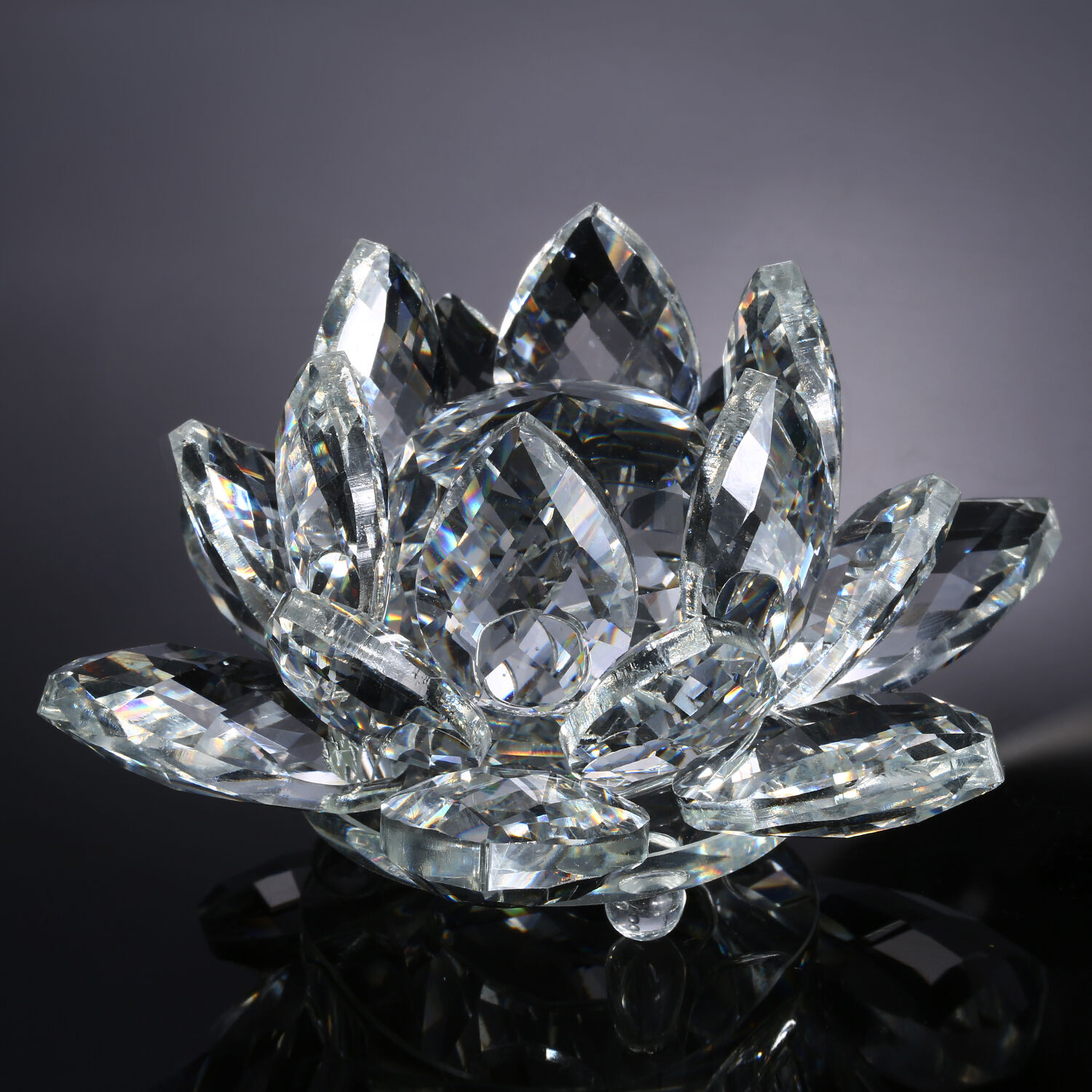 Neewer 4 Clear Crystal Glass Lotus Flower For Wedding Home Office