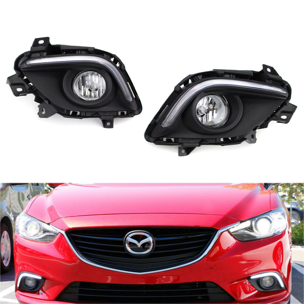 Led Daytime Running Lights W Halogen Fog Lamps Bezel Wiring For H16 2504 Ps24w Adapter Drl Relay Harness Ebay 1 Of 12only 2 Available