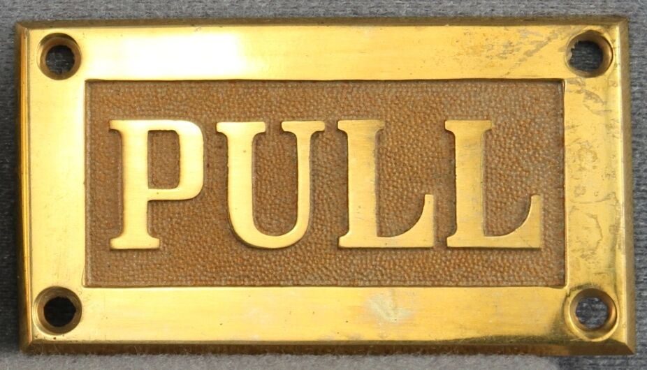 Antique Hardware Store New Old Unsold Stock Cast Brass Door Plates Push And Pull