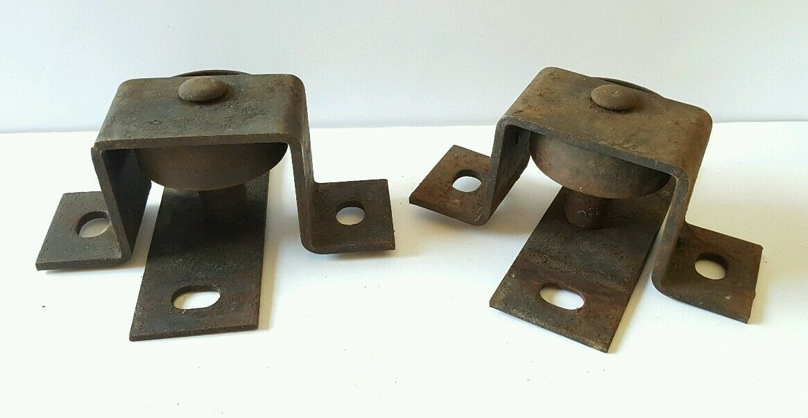 Antique Vintage Heavy Duty Industrial Cast Iron Factory Bracketed Wheels