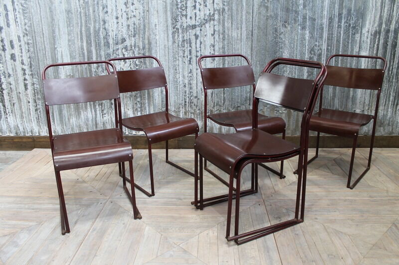 Bakelite Stackable School Chair Burgundy Dining Chair Large Quantity Available