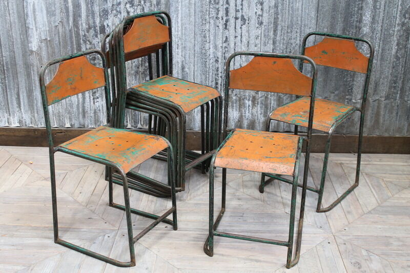 Stacking Vintage Garden Chair In Orange Large Quantity Available