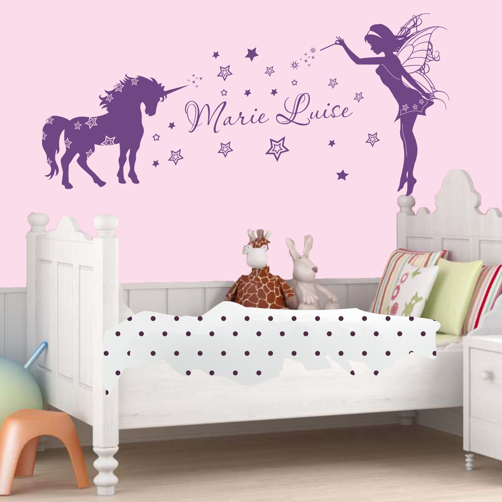 wandtattoo einhorn elfe mit namen sternchen sterne kinderzimmer wandaufkleber eur 19 90. Black Bedroom Furniture Sets. Home Design Ideas