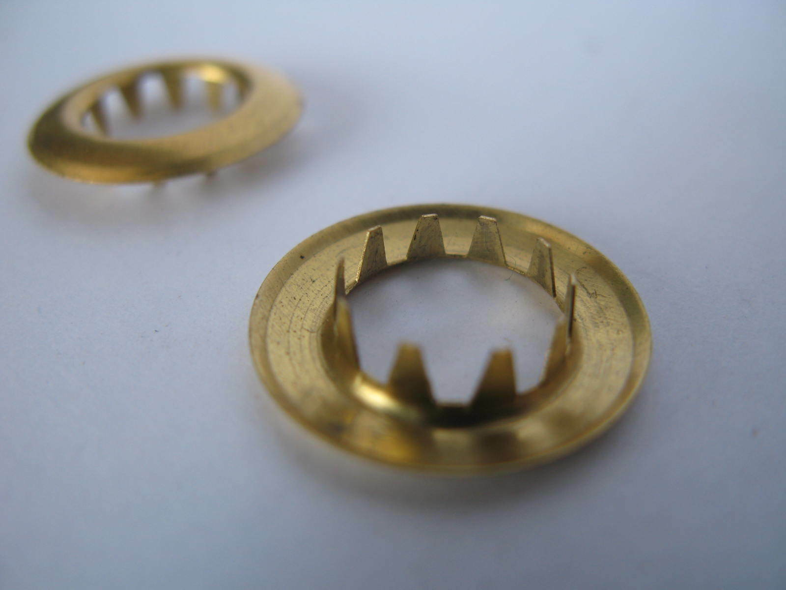 Keyhole grommets: Brass x 2 / One pair for clock repair 11-12mm - Longcase parts