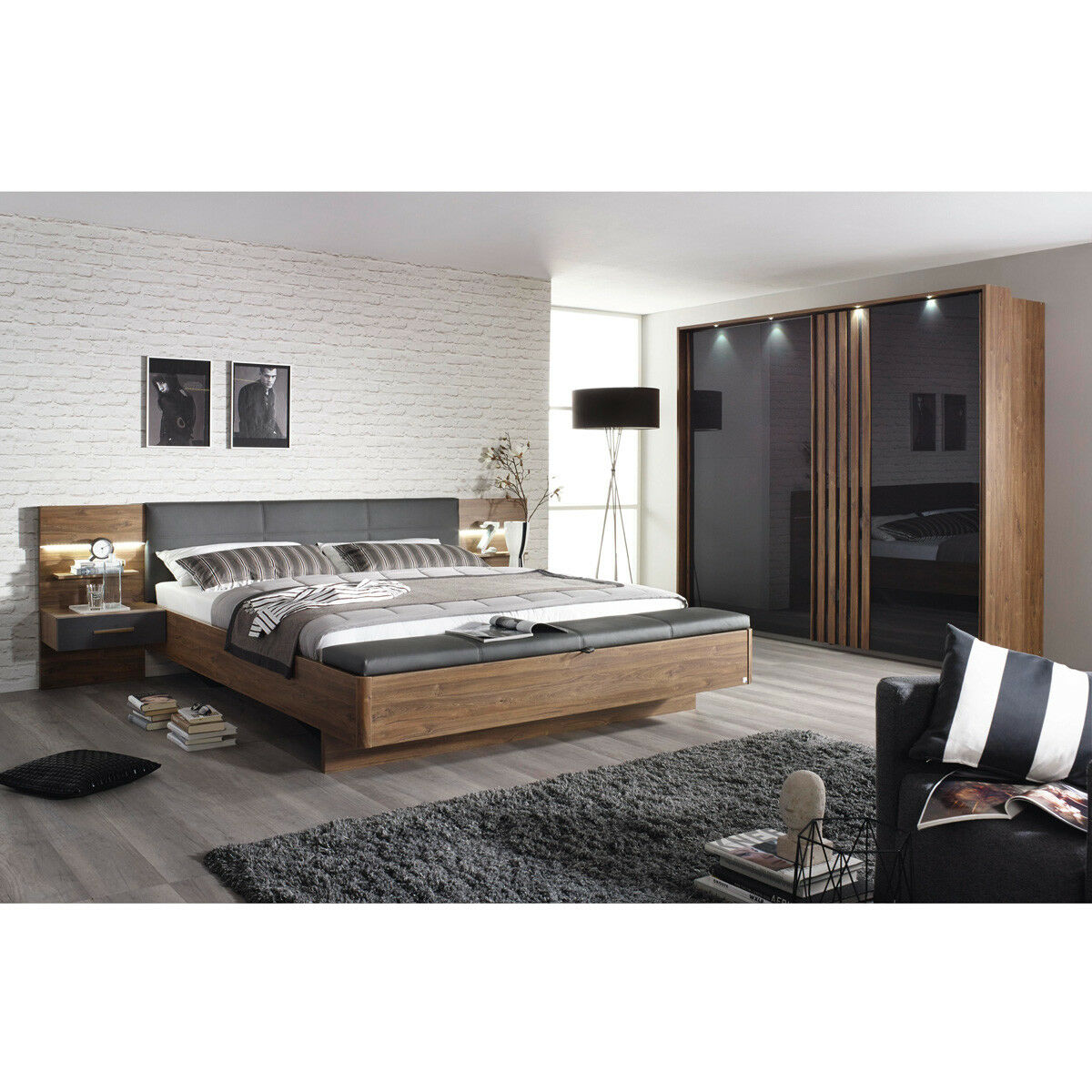 schlafzimmer set 2 mosbach bett schrank in eiche stirling grau und basalt led eur. Black Bedroom Furniture Sets. Home Design Ideas