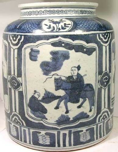 "HUGE 19thC China Blue + White ""Ming Style"" Porcelain Jar 4 Panel Pix Daily Life"