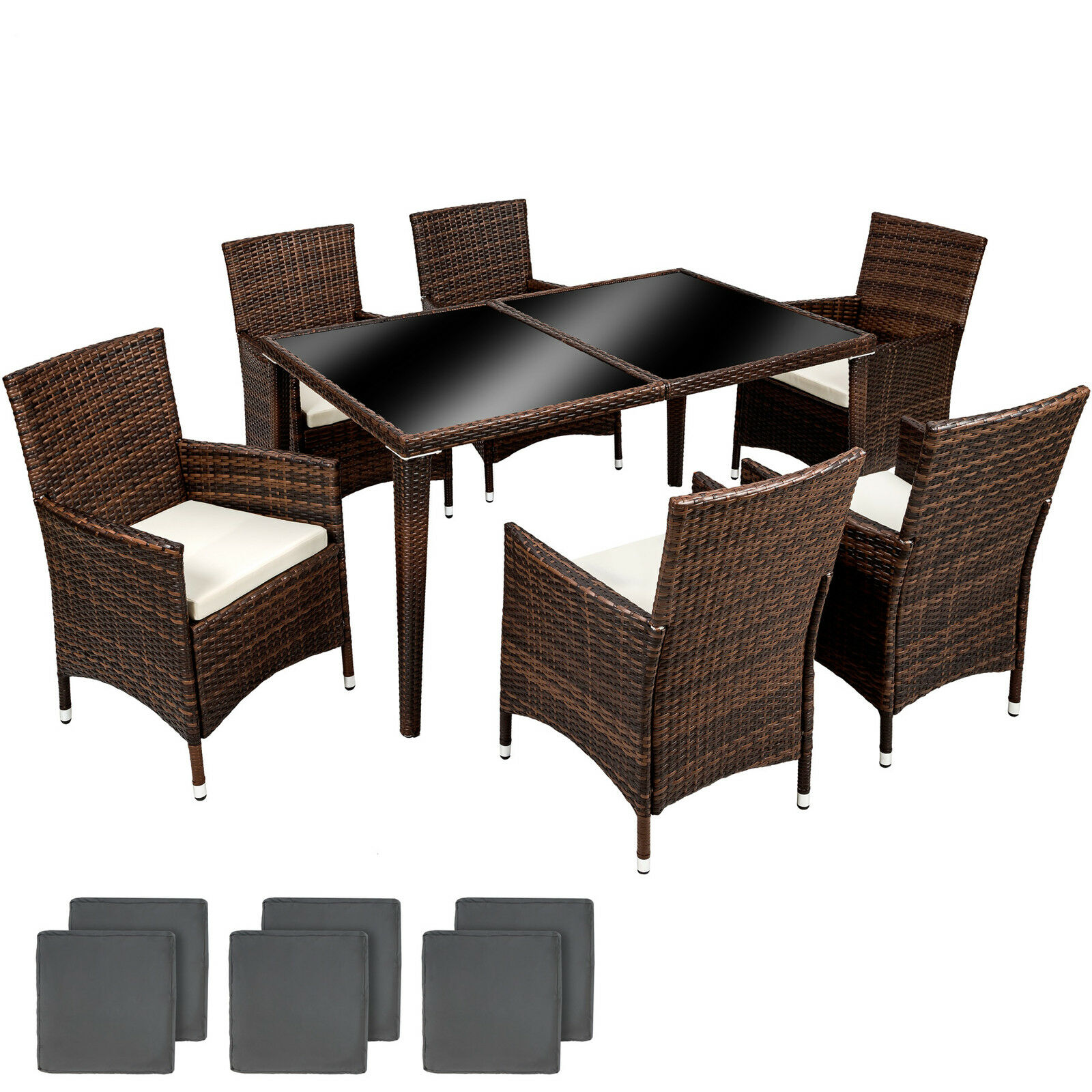 poly rattan alu gartenm bel essgruppe sitzgruppe gartengarnitur essgruppe braun eur 339 99. Black Bedroom Furniture Sets. Home Design Ideas