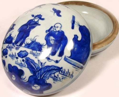 """19thC Antique China LG Blue + White """"Ming Style"""" Porcelain Jewelry Cosmetic Box"""