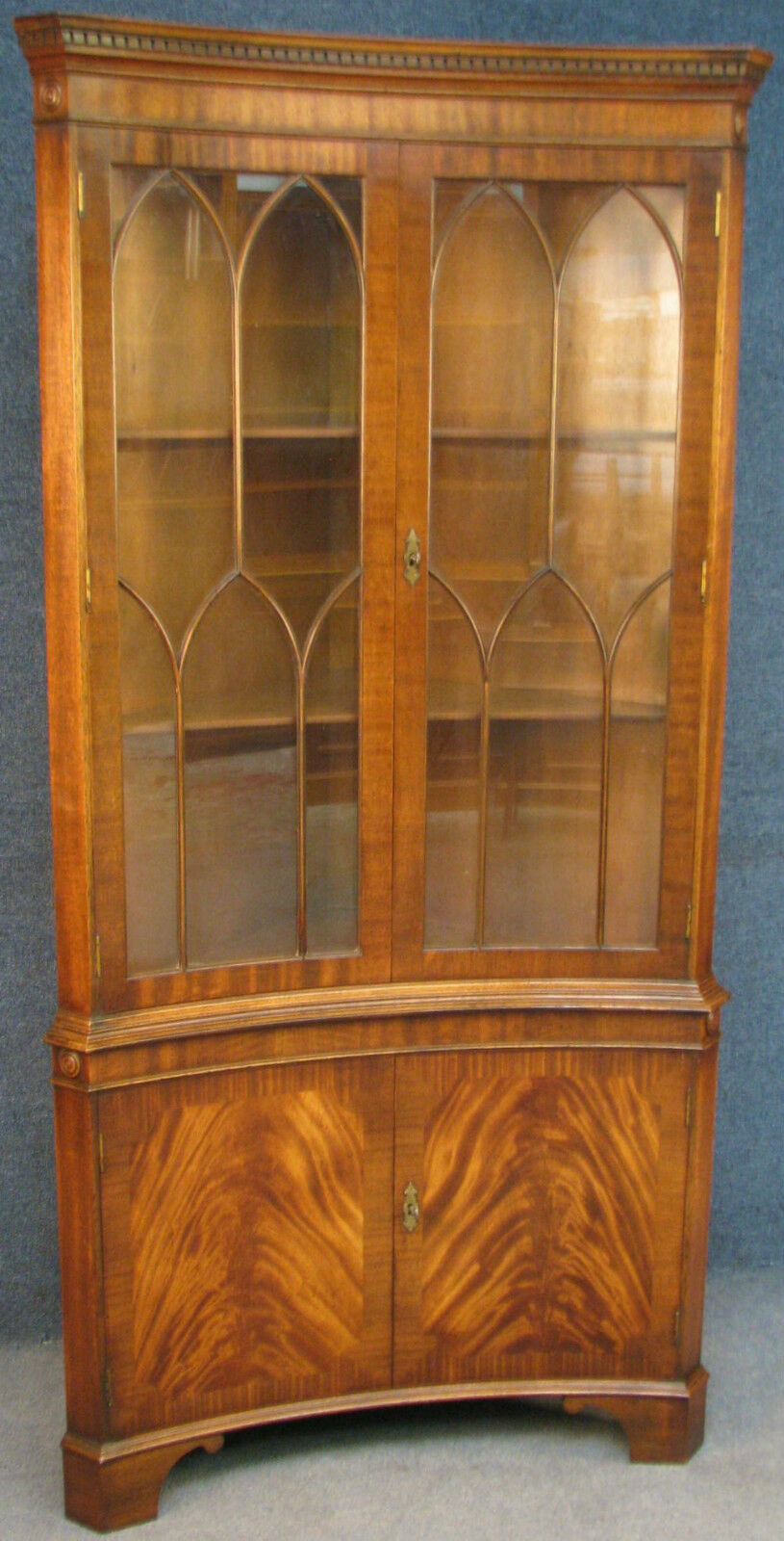 Reprodux Bevan Funnell Flame Mahogany Concave Corner Cabinet On Cupboard