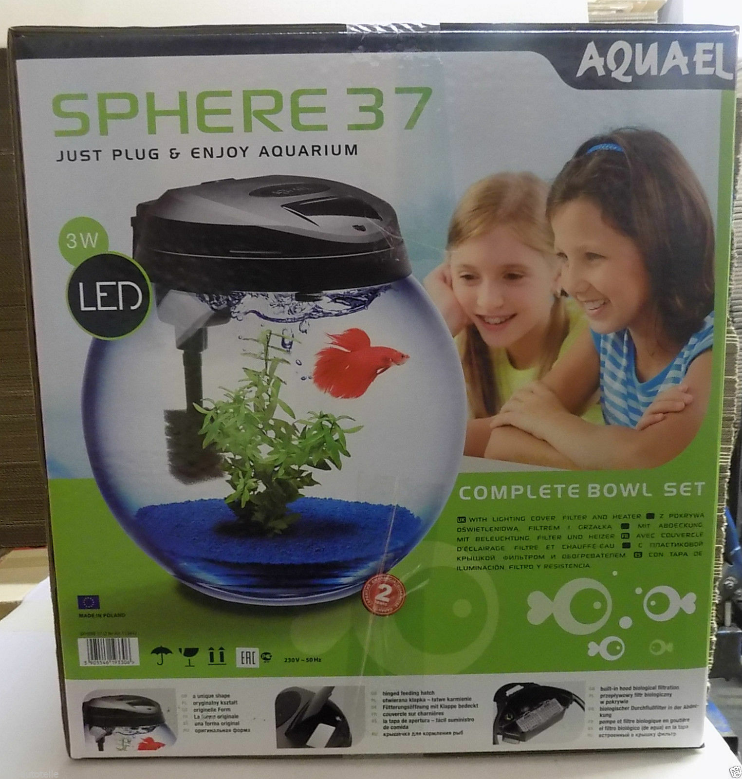 AQUAEL Sphere Aquarium Set 25L Rund komplettset Abdeckung, LED, Heizung, Filter