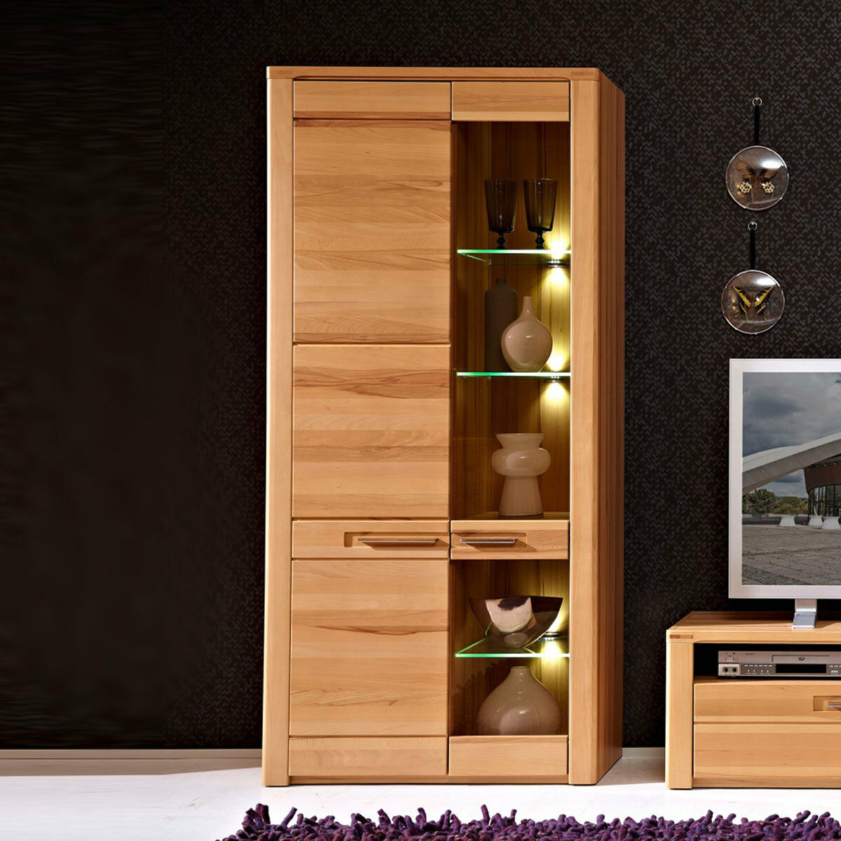 vitrine nature plus wohnzimmer hoher schrank kernbuche teilmassiv mit led eur 479 95 picclick de. Black Bedroom Furniture Sets. Home Design Ideas