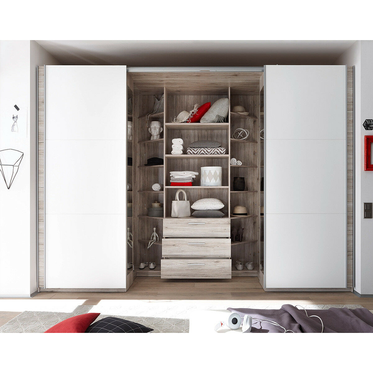 schwebet renschrank big kleiderschrank schrank begehbar in sandeiche wei 315 cm eur 899 95. Black Bedroom Furniture Sets. Home Design Ideas
