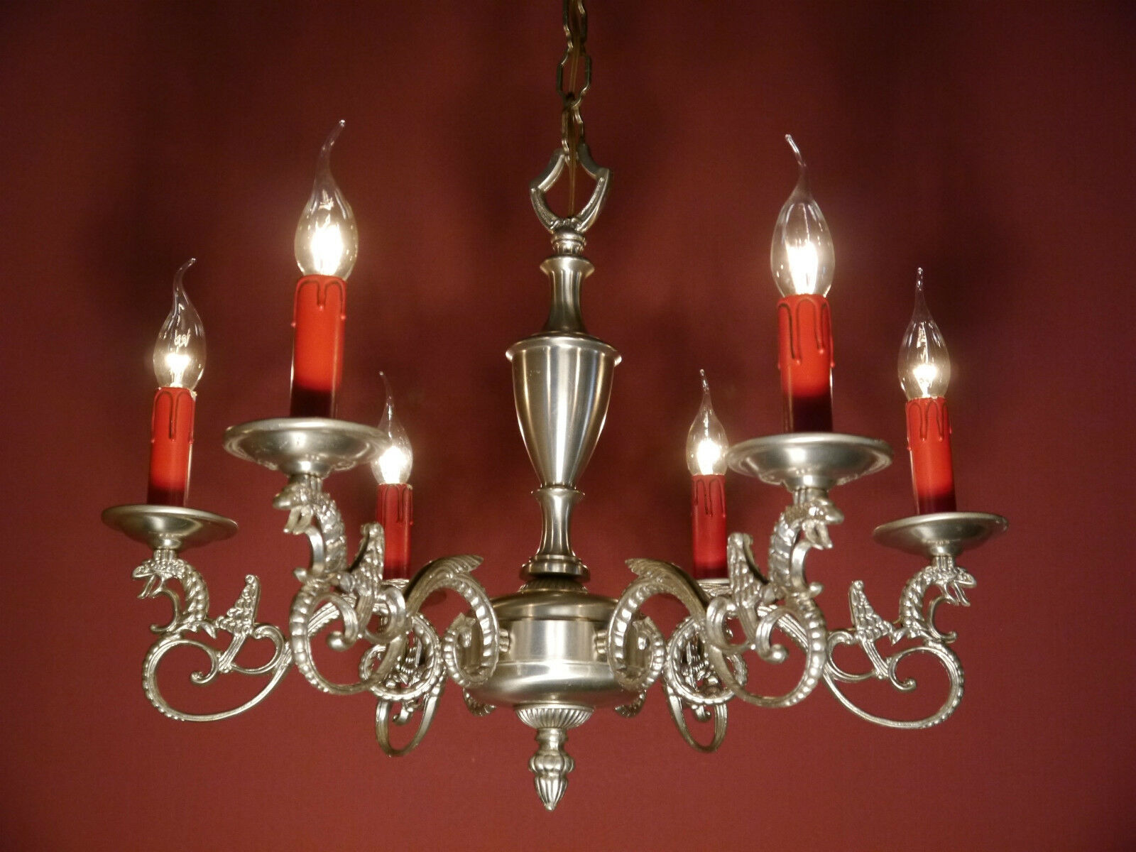 8 Light Dragon Chandelier Silver Vintage Lamp Antique Nickel Old French Ancient