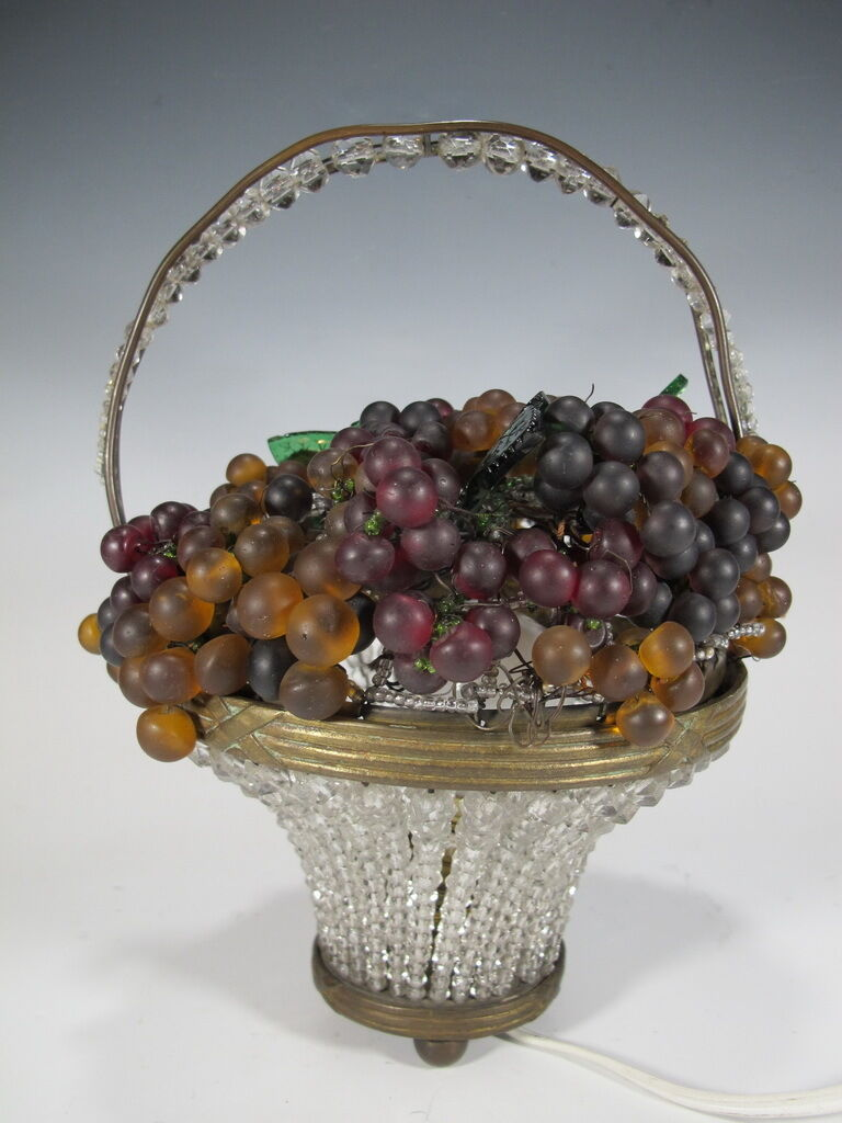 Antique French Bronze & Glass grapes basket lamp - D7704