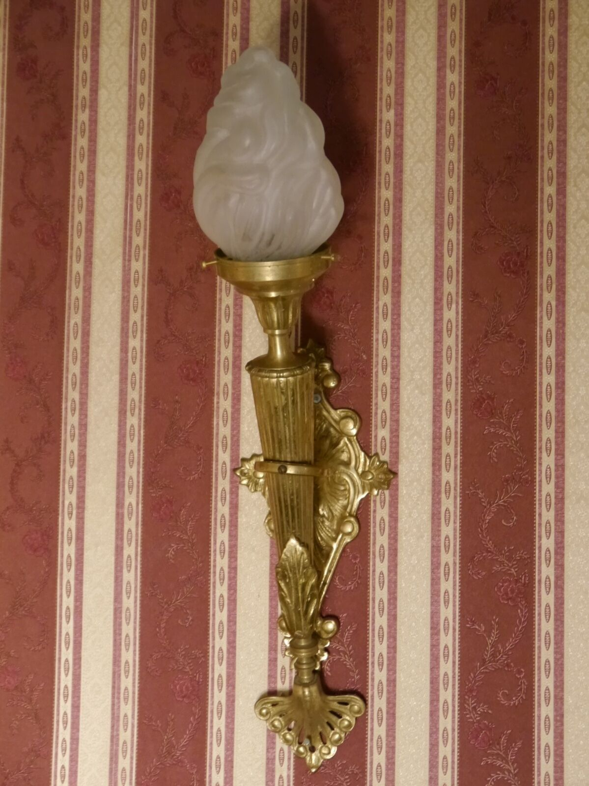 torch big pair french one light wall lamps sconces vintage brass satined glass