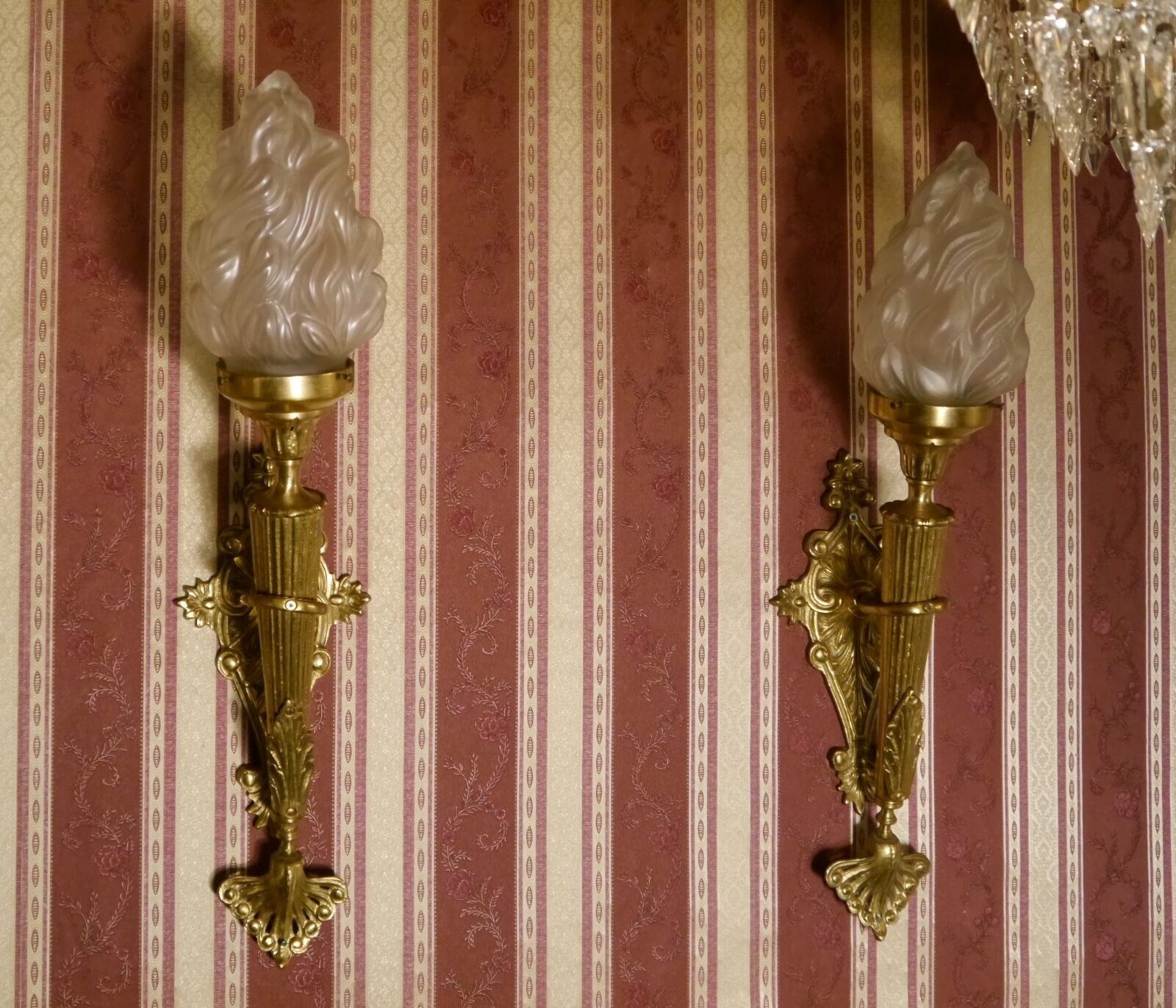 old torch big pair french one light satined glass wall lamps sconces brass